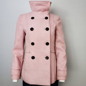 H&M Pink Pea Coat Soft Felt Size US 6 🔥